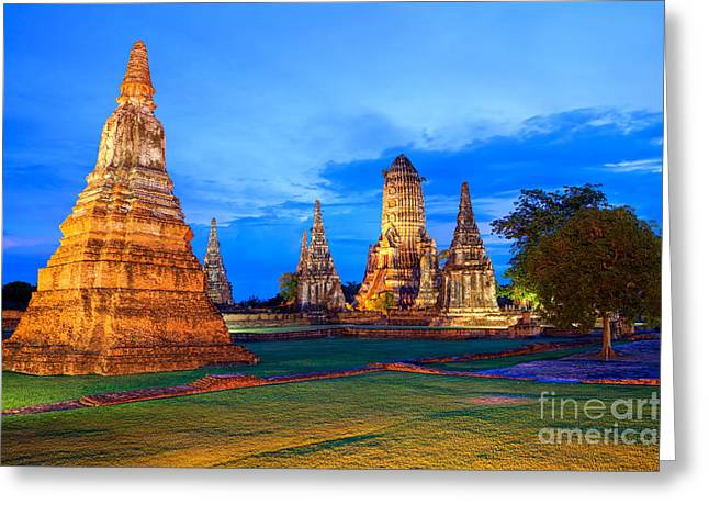 Ayuthaya Greeting Cards - Ayutthaya Temple Thailand Greeting Card by Fototrav Print