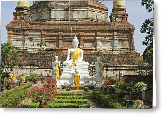 Geschichte Greeting Cards - Ayutthaya Wat Yai Chai-mongkol Greeting Card by Tips Images