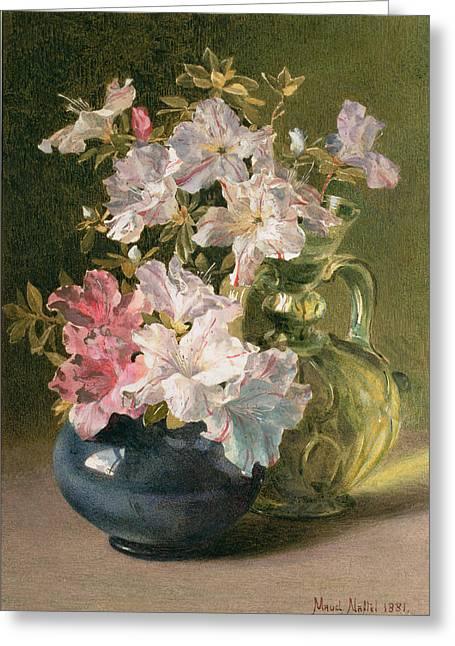 Flower Still Life Greeting Cards - Azaleas In A Jug Greeting Card by Maud Naftel