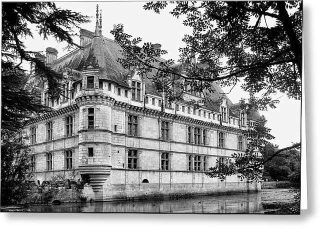 Recently Sold -  - Chateau Greeting Cards - Azay-le-Rideau in Black and White Greeting Card by Nikolyn McDonald