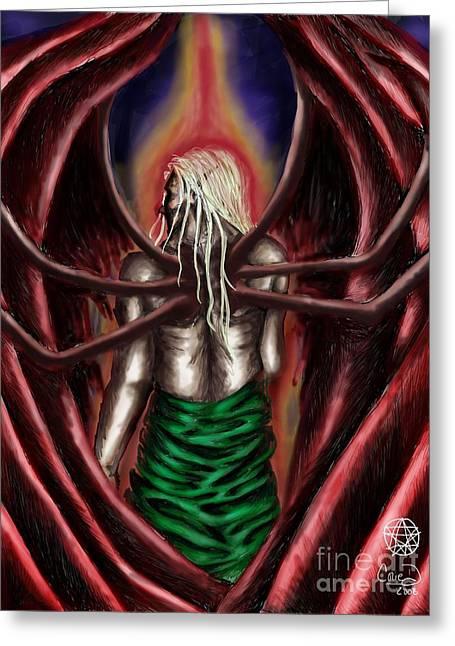 Fears Psychic Greeting Cards - Azazel Greeting Card by Coriander  Shea