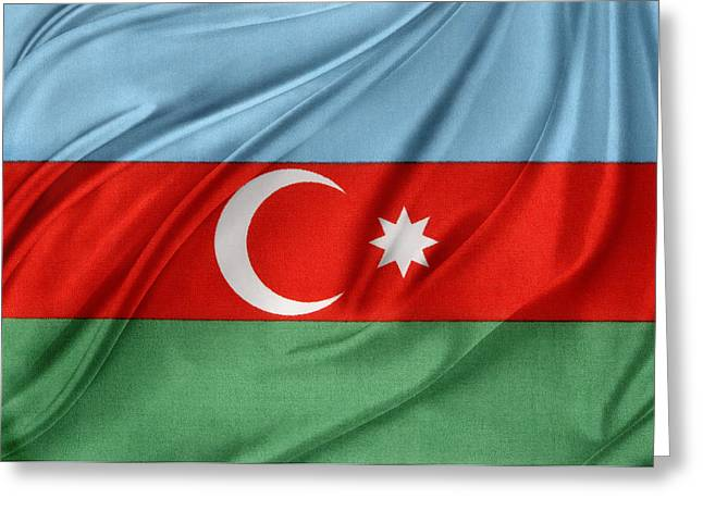 Abstract Waves Photographs Greeting Cards - Azerbaijan flag Greeting Card by Les Cunliffe