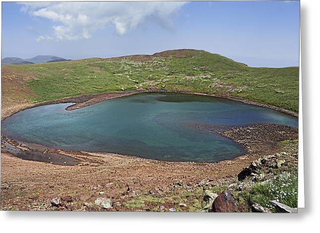 Craters Pyrography Greeting Cards - Azhdahak Crater Lake Greeting Card by Armine Yepremyan