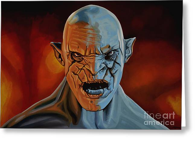 Goblins Greeting Cards - Azog The Orc Greeting Card by Paul  Meijering
