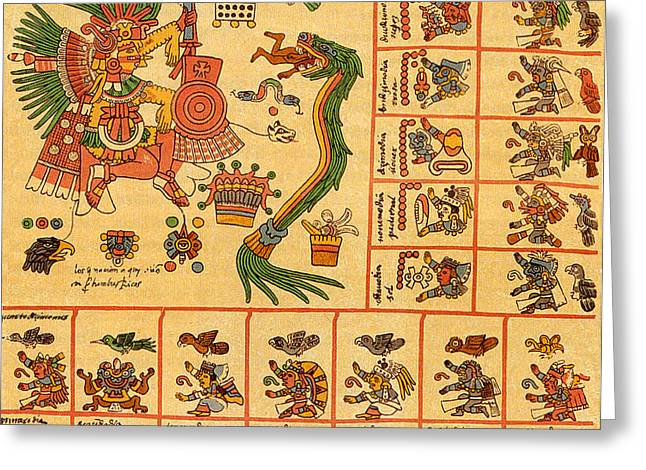 Mesoamerica Greeting Cards - Aztec Calendar Codex Borbonicus 15th Century Greeting Card by Photo Researchers