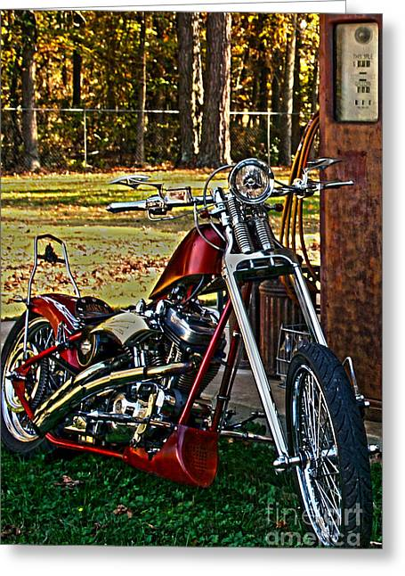 Vintage Greeting Cards - Aztec Chopper Nbr 90 HDR Motorcycle Art Greeting Card by Lesa Fine