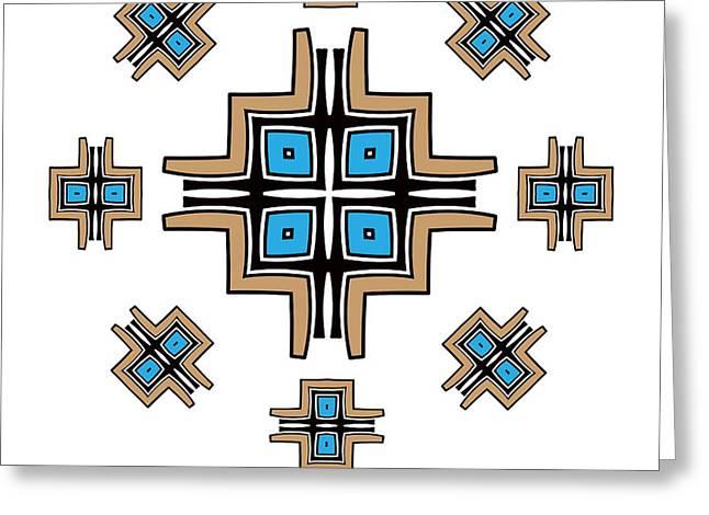 Aztec Cross Mandala Greeting Card by Jozef Jankola