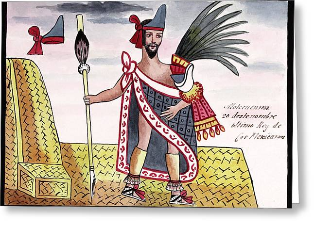 Aztec Emperor Moctezuma II Greeting Card by Library Of Congress
