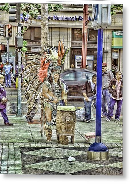 Editorial Mixed Media Greeting Cards - Aztec In The City Greeting Card by Don Bendickson