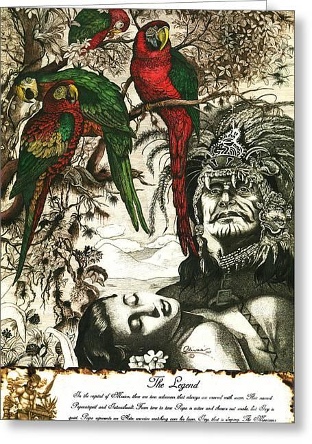 Aztec Lovers Greeting Card by Bill Olivas