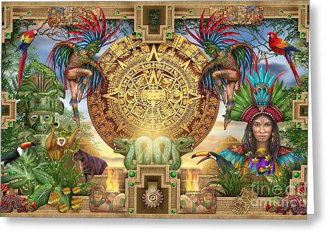 Aztec Mayhem Montage Greeting Card by Ciro Marchetti