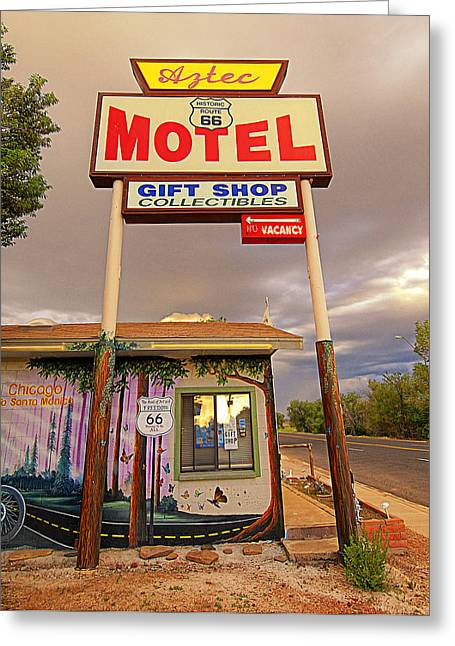 Aztec Motel On Route 66 Greeting Card by Ron Regalado