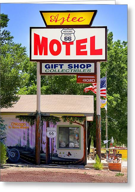 Motel Art Greeting Cards - Aztec Motel -  Seligman Greeting Card by Mike McGlothlen