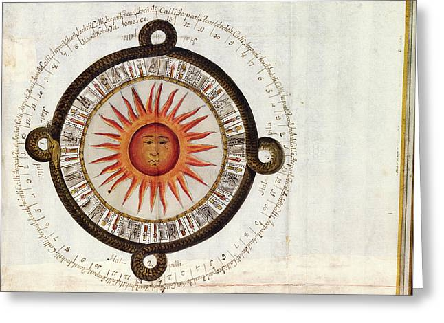 Aztec 'reckoning Of The Sun' Cycle Greeting Card by Library Of Congress