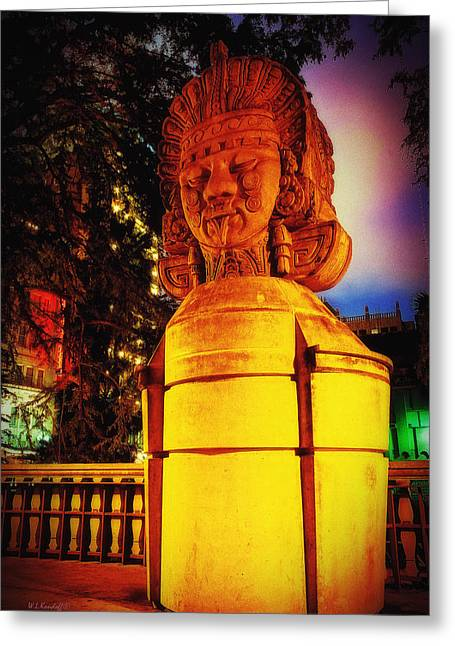 Aztec Statue Greeting Card by Wayne Kondoff