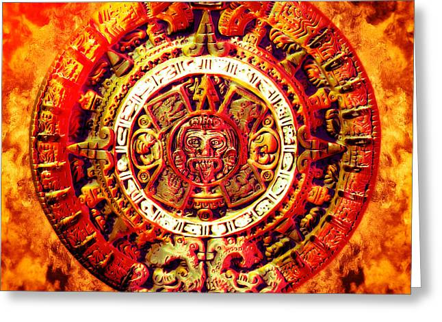 Magic Time Greeting Cards - Aztec Sun Stone Greeting Card by YoPedro