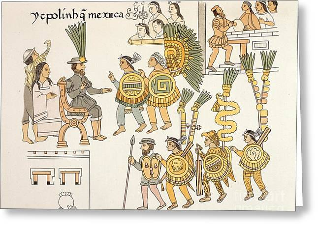 Lienzo Greeting Cards - Aztec Surrender, Lienzo De Tlaxcala Greeting Card by British Library