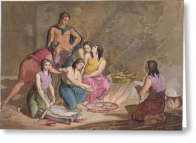 Culinary Drawings Greeting Cards - Aztec Women Making Maize Bread, Mexico Greeting Card by Gallo Gallina