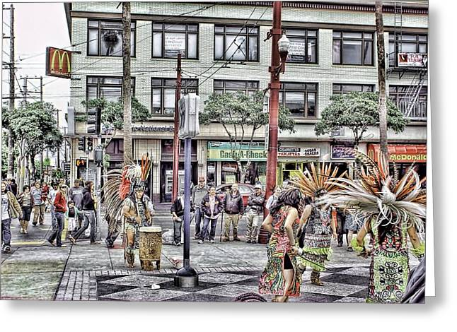 Editorial Mixed Media Greeting Cards - Aztecs In The City Greeting Card by Don Bendickson