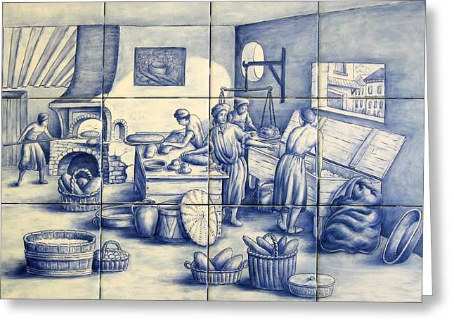 Ceramic Tile Mural Ceramics Greeting Cards - Azulejo Portuguese Bakers Tile Mural Greeting Card by Julia Sweda