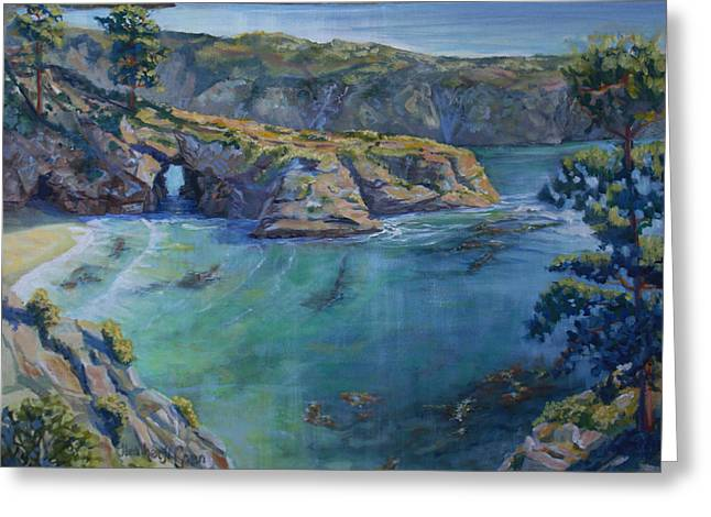 Point Lobos Greeting Cards - Azure Cove Greeting Card by Heather Coen