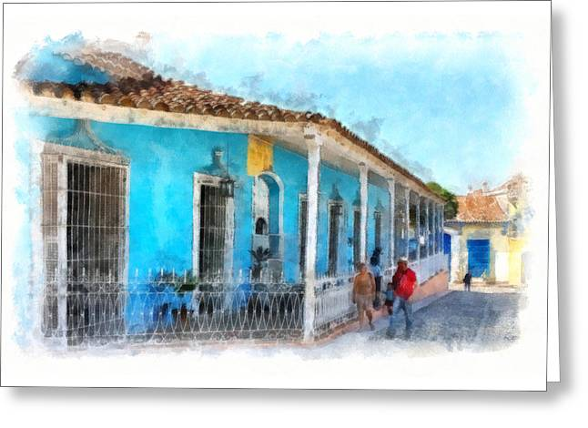 Historic Home Greeting Cards - Azure Day Greeting Card by Dawn Currie