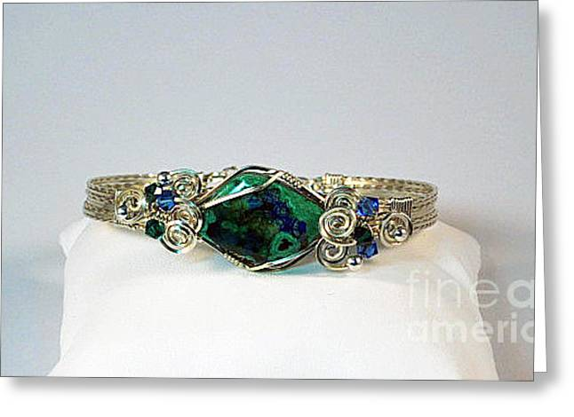 Anti Jewelry Greeting Cards - Azurite Malachite Natural Stone Bracelet in Sterling Greeting Card by Holly Chapman