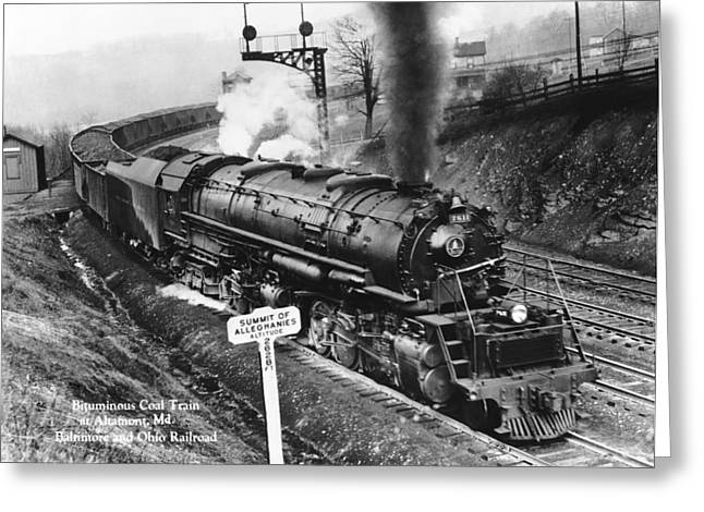 Allegheny Greeting Cards - B & O Railroad Coal Train Greeting Card by Underwood Archives