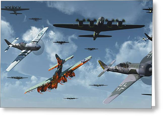 Bomber Escort Greeting Cards - B-17 Bombers And P-51 Mustangs Greeting Card by Mark Stevenson