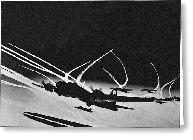 Ww Ii Greeting Cards - B 17 Contrails Greeting Card by Unknown