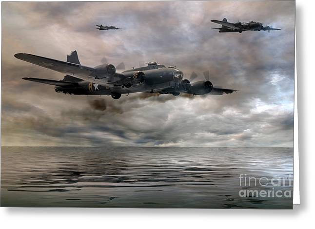 Ww11 Photographs Greeting Cards - B-17 Flying Fortress  Almost Home Greeting Card by Steve H Clark Photography