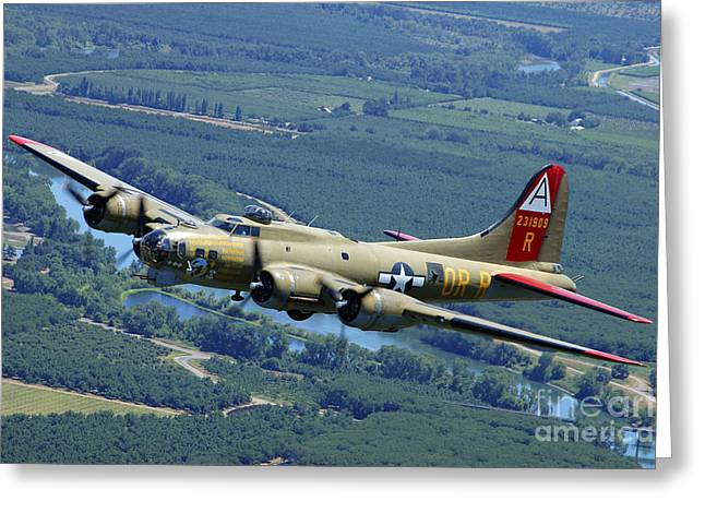 Concord. Historic Greeting Cards - B-17 Flying Fortress Flying Greeting Card by Phil Wallick