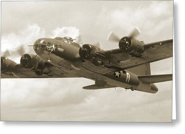 Airplane Prop Greeting Cards - B-17 Flying Fortress Greeting Card by Mike McGlothlen