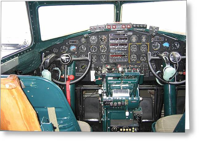 Usaac Greeting Cards - B-17 Flying Fortress Yankee Lady Cockpit Greeting Card by Don Struke