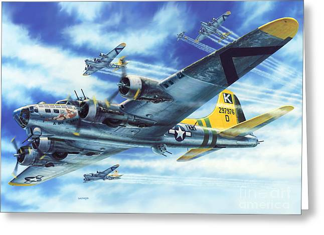 Fortress Greeting Cards - B-17G Flying Fortress A Bit O Lace Greeting Card by Stu Shepherd