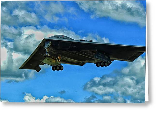 Airpower Greeting Cards - B-2 Spirit Coming in For a Landing Greeting Card by Mountain Dreams