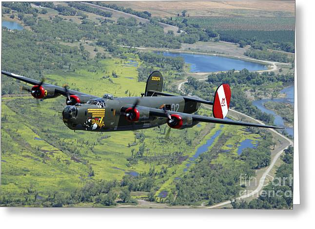 United States Army Air Forces Greeting Cards - B-24 Liberator Flying Over Mt. Lassen Greeting Card by Phil Wallick