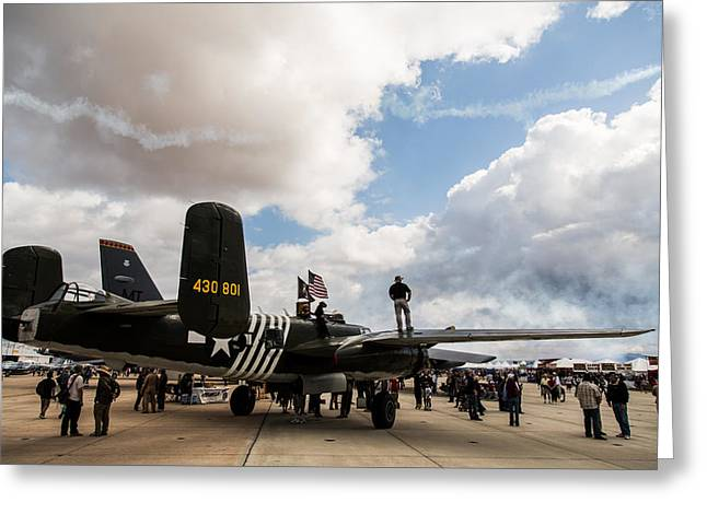 Olive Drab Greeting Cards - B-25 Airshow Greeting Card by John Daly