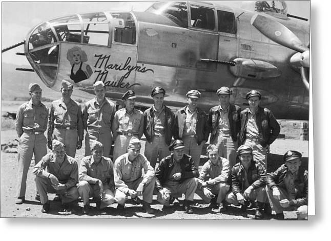 B-25 Bomber And Crew Greeting Card by Underwood Archives