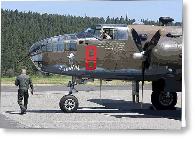 World War 2 Airmen Greeting Cards - B-25 Bomber Pre-flight Check Greeting Card by Daniel Hagerman