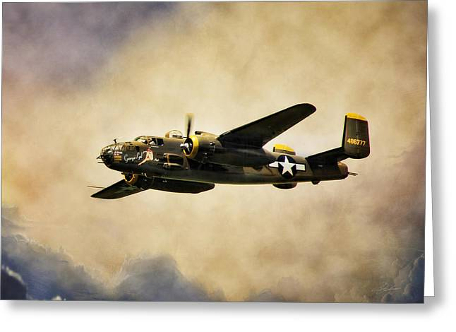 North American Aviation Greeting Cards - B-25 Georgies Gal Greeting Card by Peter Chilelli