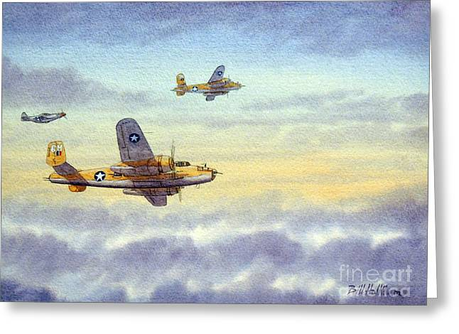 Airplane Paintings Greeting Cards - B-25 Mitchell Greeting Card by Bill Holkham