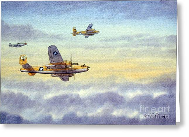 Airplane Greeting Cards - B-25 Mitchell Greeting Card by Bill Holkham
