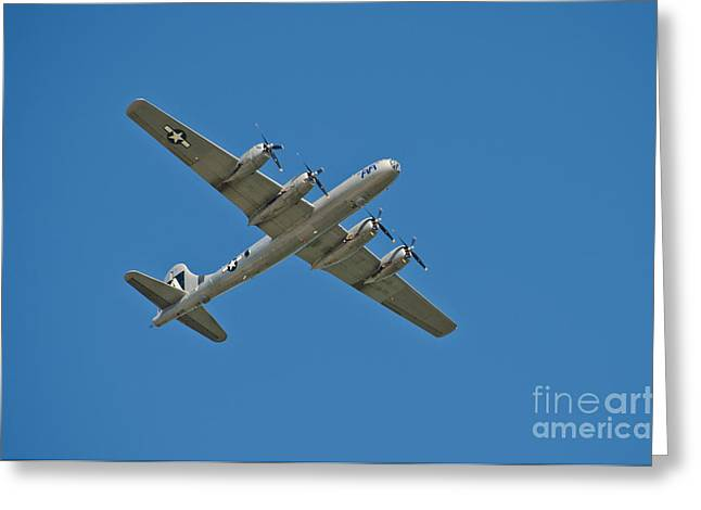 B29 Bomber Greeting Cards - B-29 Bomber Overhead Greeting Card by Anthony Mercieca