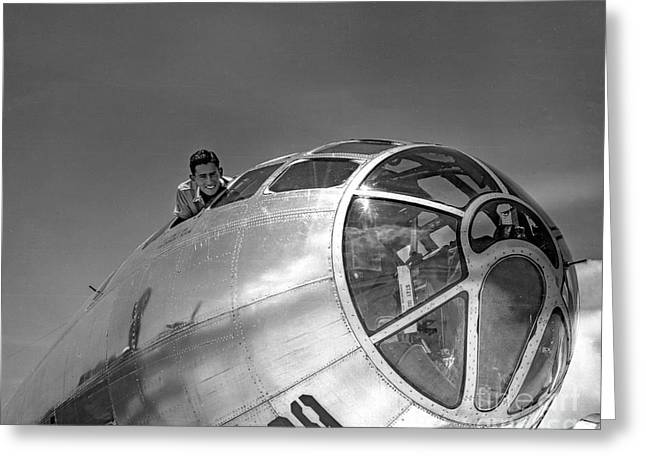 World War 2 Airmen Greeting Cards - B-29 Portrait Greeting Card by Brady Barrineau