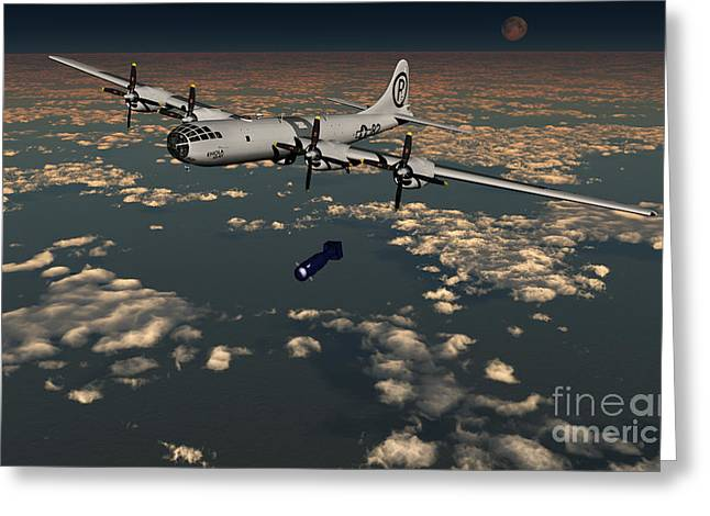 Nuclear Warfare Greeting Cards - B-29 Superfortress Dropping Little Boy Greeting Card by Mark Stevenson