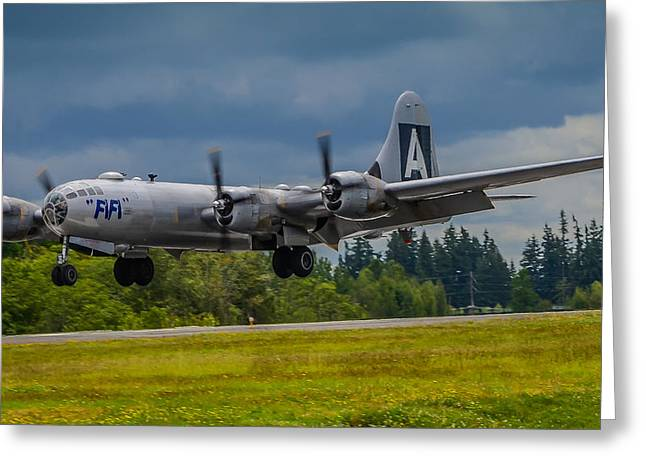 Media Exposure Greeting Cards - B-29 Superfortress Flair  Greeting Card by Puget  Exposure