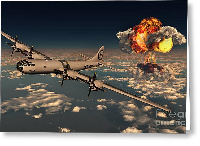 Flying Planes Greeting Cards - B-29 Superfortress Flying Away Greeting Card by Mark Stevenson