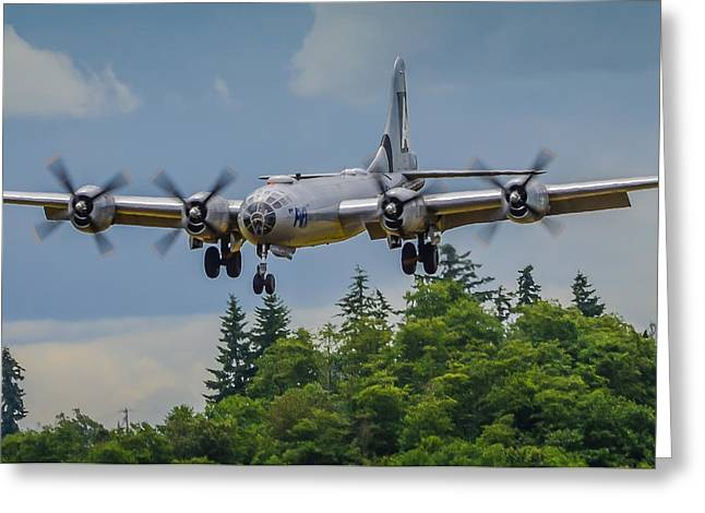 Media Exposure Greeting Cards - B-29 Superfortress Landing Greeting Card by Puget  Exposure