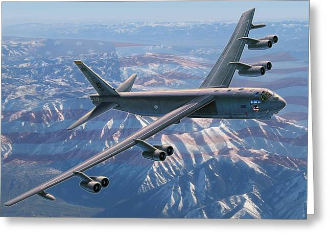 Aircraft Greeting Cards - B-52 Stratofortress  Americas Backbone Greeting Card by Stu Shepherd